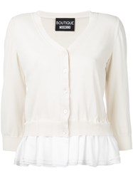 Boutique Moschino Frill Trim Cardigan Women Nylon Rayon 44 Nude Neutrals