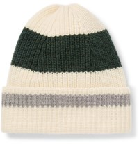 The Workers Club Striped Ribbed Merino Wool Beanie Neutrals