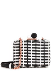 Sophia Webster Vivi Monochrome Woven Box Clutch Black And White