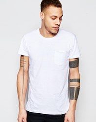 Solid T Shirt With Front Pocket White