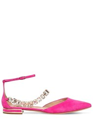 Casadei 10Mm Embellished Suede Flats Fuchsia
