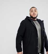Only And Sons Plus Hooded Wool Parka Black