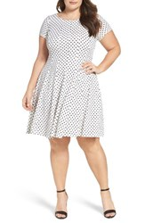 Gabby Skye Plus Size Women's Polka Dot Swirl Fit And Flare Dress
