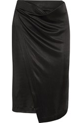 Atlein Asymmetric Wrap Effect Satin Twill Skirt Black