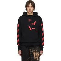 Off White Blackand Red Diag Bats Slim Hoodie