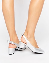 Daisy Street Sling Silver Mid Heeled Shoes Silver