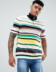 Asos Design Knitted Half Zip T Shirt With Vertical Stripes Multi