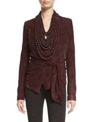 Urban Zen High Neck Leather Tribal Bead Necklace Wine