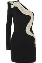 Balmain One Sleeve Crystal Embellished Stretch Jersey Mini Dress Black