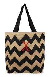 Cathy's Concepts Personalized Chevron Print Jute Tote Grey Black Natural X