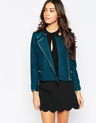Traffic People Zip It Jacket With Pu Trim Blue