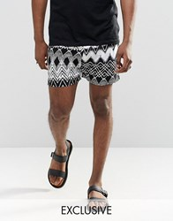 Reclaimed Vintage Festival Shorts In Aztec Print Black