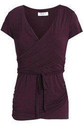 Bailey 44 Wrap Effect Ruched Stretch Jersey Top Burgundy