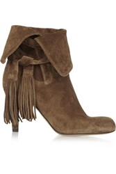 Chloe Tassel Trimmed Suede Ankle Boots Brown
