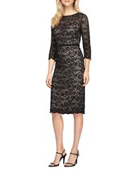 Alex Evenings Petite Three Quarer Sleeve Beaded Lace Sheath Dress Black Nude