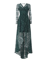 Body Frock Long Sleeve Lace Maxi Dress Green
