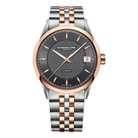 Raymond Weil 2740 St 20021 Men's Freelancer Two Tone Bracelet Strap Watch Silver Rose Gold