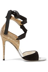 Rene Caovilla Crystal Embellished Suede Sandals Black