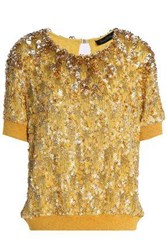 Jenny Packham Bead And Sequin Embellished Silk Georgette Top Gold