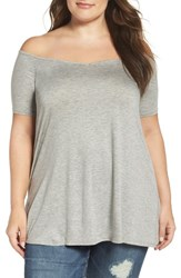 Three Dots Plus Size Women's Off The Shoulder Swing Tee Grey