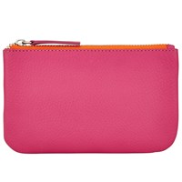 John Lewis Contrast Leather Coin Purse Pink Orange