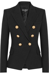 Balmain Double Breasted Basketweave Cotton Blazer Black