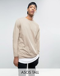 Asos Tall Super Longline Long Sleeve T Shirt With Double Layer Curved Hem In Beige White Silver Mink White Grey