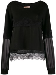 Twin Set Tiered Lace Jumper Black