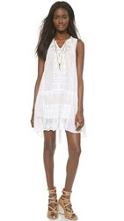 Burning Torch Ritual Embroidered Dress White