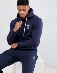 Gym King Muscle Hoodie In Navy With Logo
