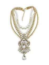 Belle By Badgley Mischka Pearl Party Rhinestone Multi Row Necklace Two Tone