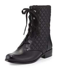 Neiman Marcus Riley Lace Up Quilted Bootie Black Blac