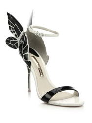 Sophia Webster Chiara Butterfly Patent Leather Sandals Black White