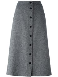 Alice Olivia Button Down A Line Skirt Grey