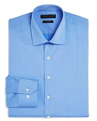 Bloomingdale's The Men's Store At Textured Solid Slim Fit Basic Dress Shirt Blue