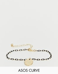 Asos Design Curve Bracelet In Delicate Open Link Chain With Black Detail And Disc Charm In Gold Tone