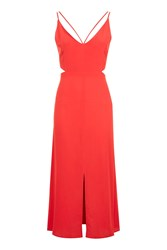 Topshop Cut Out Midi Slip Dress Red