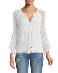 Ramy Brook Logan Layered Bell Sleeve Top Ivory