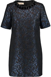 Marni Embellished Metallic Jacquard Tunic Blue