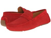 Aquatalia By Marvin K Bruce Red Woven Suede Men's Slip On Shoes