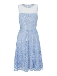 Shubette Floral Lace Fit And Flare Dress Blue