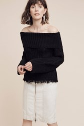 Anthropologie Off The Shoulder Cabled Sweater Black
