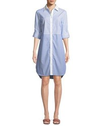 Finley Maxwell Mixed Striped Shirtdress White Blue