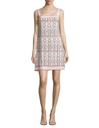 Ivanka Trump Printed Shift Dress Ivory Coral
