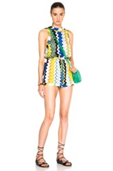 Missoni Mare Romper In Metallics Blue Geometric Print Yellow