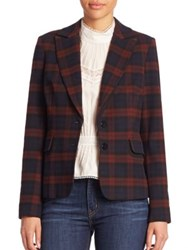 Derek Lam Plaid Two Button Blazer Red Midnight