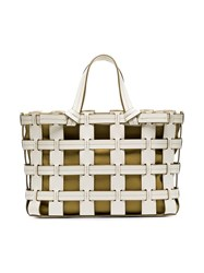 Trademark White And Mustard Frances Cutout Leather Tote Bag