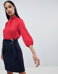Vesper High Neck Shirt Red
