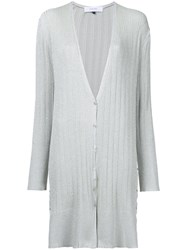 Le Ciel Bleu Long Button Cardigan Women Polyester Rayon 36 Metallic