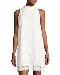 Tahari By Arthur S. Levine Sleeveless Mock Neck Lace A Line Dress White